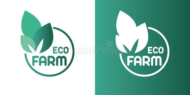 Eco-Bauernhoflogo-Entwurfsidee Gutes Lebensmittel f?r kreatives Symbolkonzept der guten Leute lizenzfreie abbildung