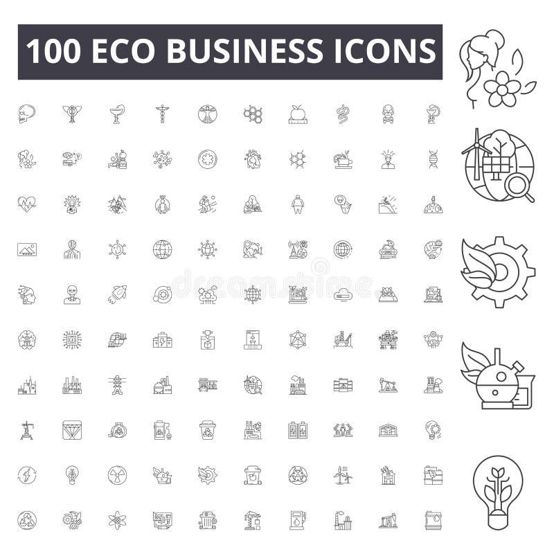 Eco bedrijfslijnpictogrammen, tekens, vectorreeks, het concept van de overzichtsillustratie royalty-vrije illustratie