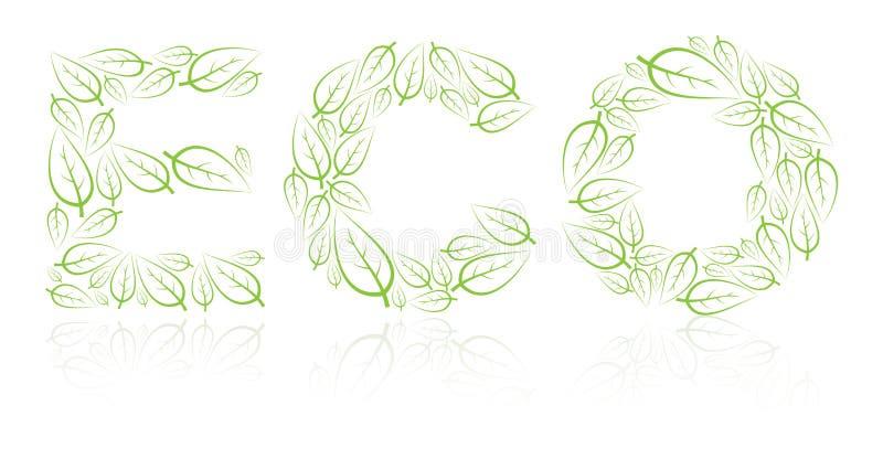 Eco Beschriftung gebildet von den grünen Blättern stock abbildung