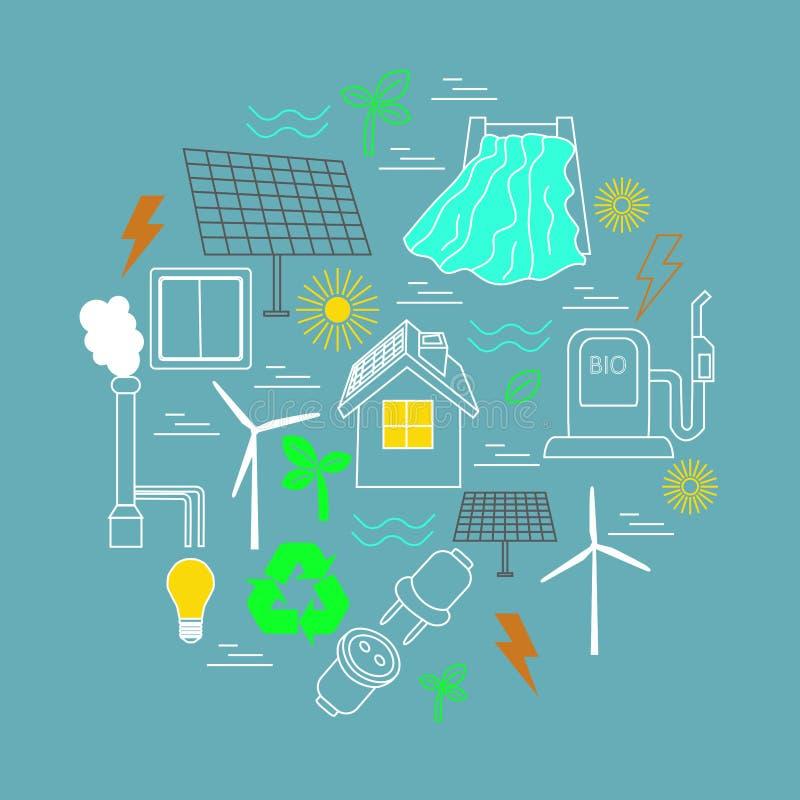 Eco bezog sich Druck Enthält Symbole für verschiedene Arten der Elektrizitätserzeugung stock abbildung