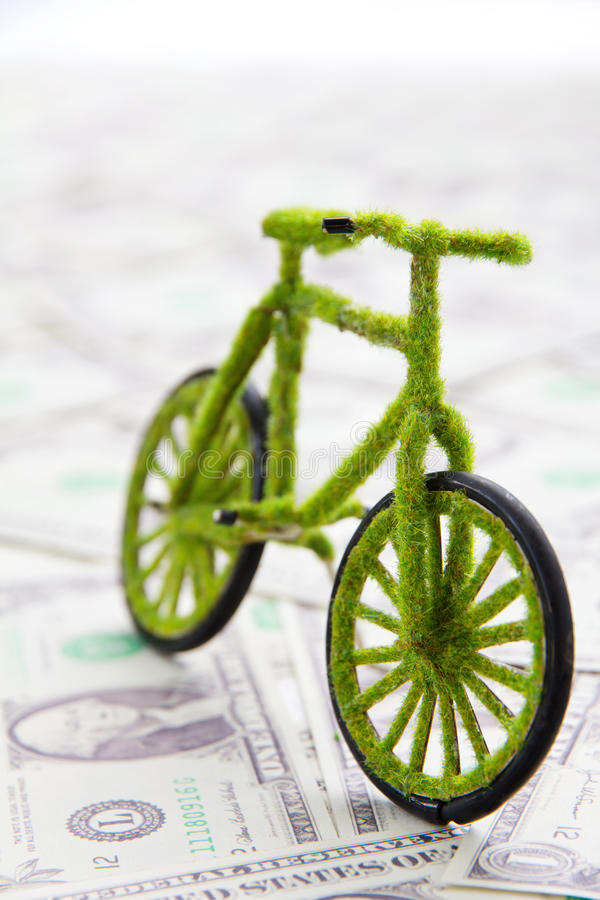 Eco bicycle icon. Save money concept stock photography