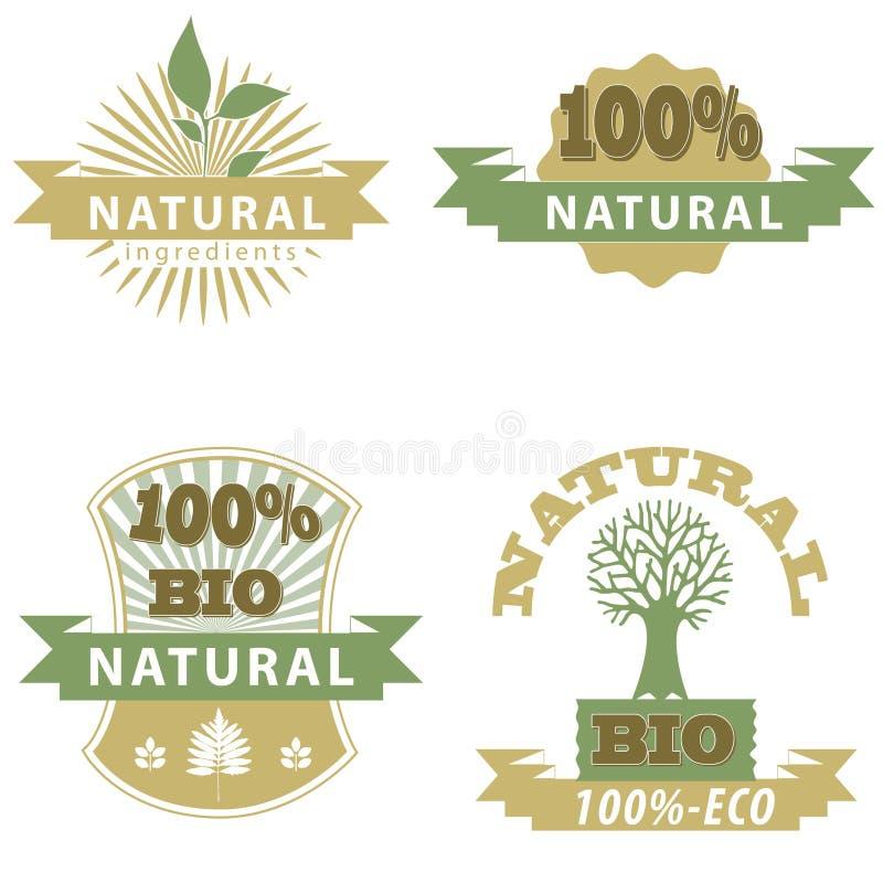Eco Bio Badge's. Natural product badge,great for print,web or presentation stock illustration