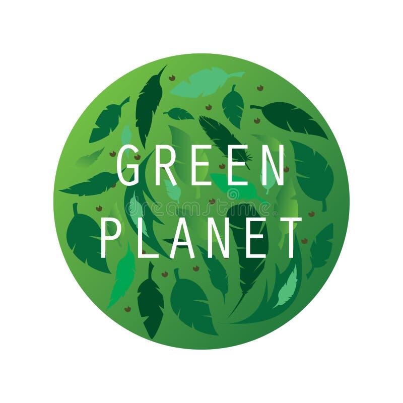 Eco, bio logotipo verde, etiqueta, sinal Molde org?nico do projeto Ícone do conceito com folhas verdes ilustração royalty free