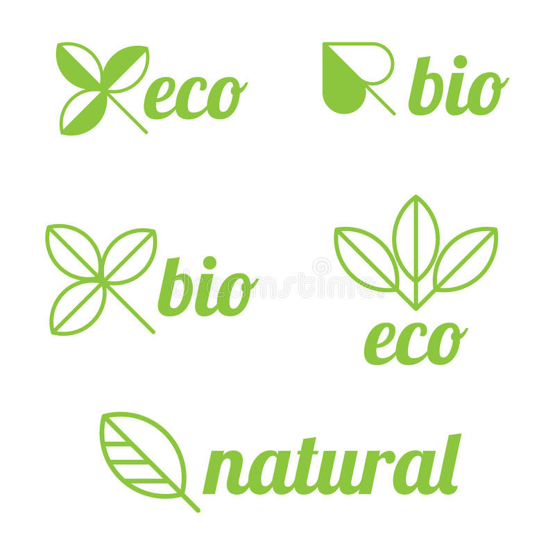 Eco, bio and natural labels stock illustration