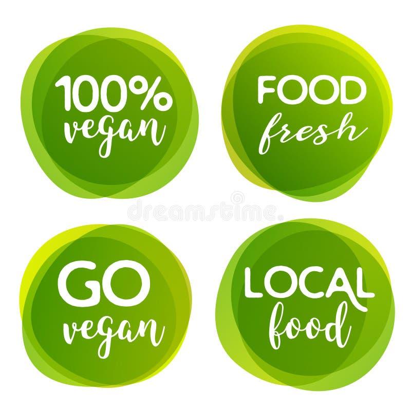 Eco Bio und Aufkleber des biologischen Lebensmittels Produktelementgrünaufkleber oder -aufkleber des strengen Vegetariers Ökologi vektor abbildung