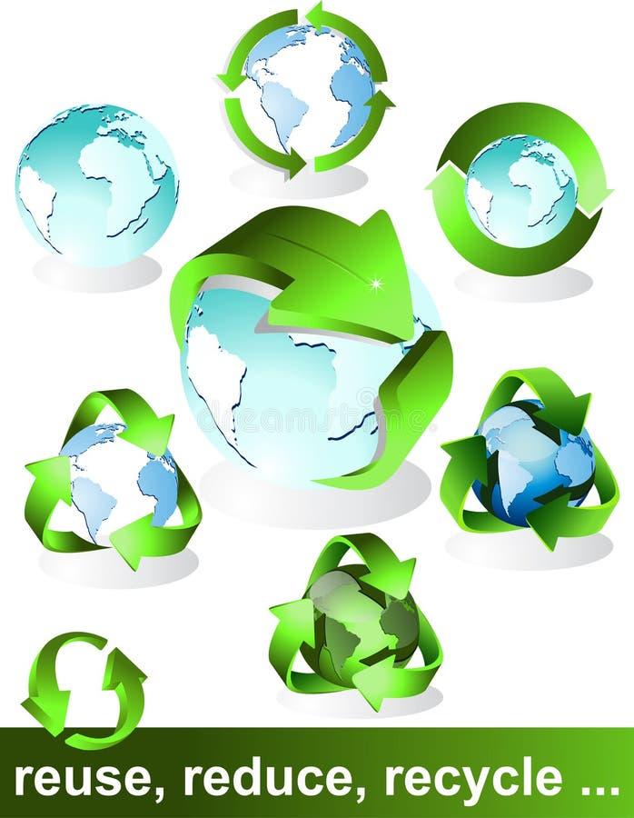 Eco, bio, verdes e recicl símbolos ilustração royalty free