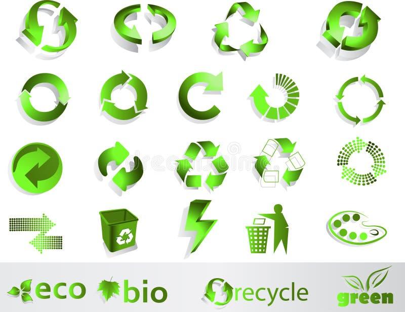 Eco, bio, verts et réutilisent des symboles illustration de vecteur