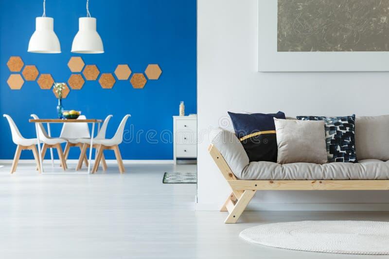 Eco blue contemporary loft apartment royalty free stock photography