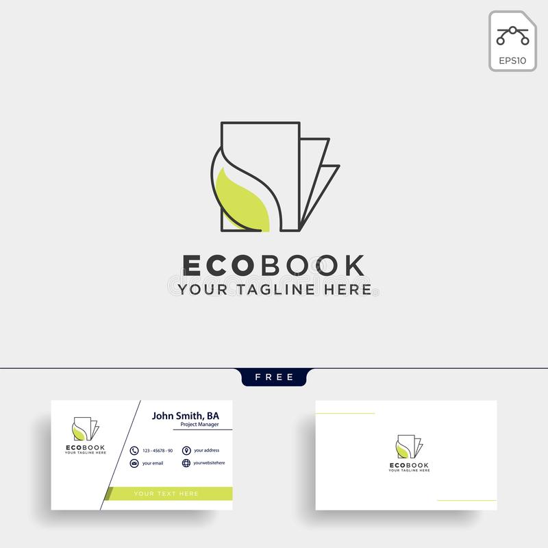 Eco book, nature learn line logo template vector illustration icon element isolated. Vector file stock image