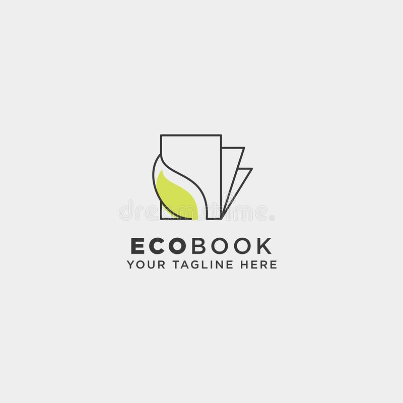 Eco book, nature learn line logo template vector illustration icon element isolated. Vector file royalty free stock photos