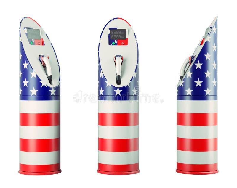 Eco bränsle: isolerade uppladdningsstationer med USA flaggamodellen royaltyfri illustrationer