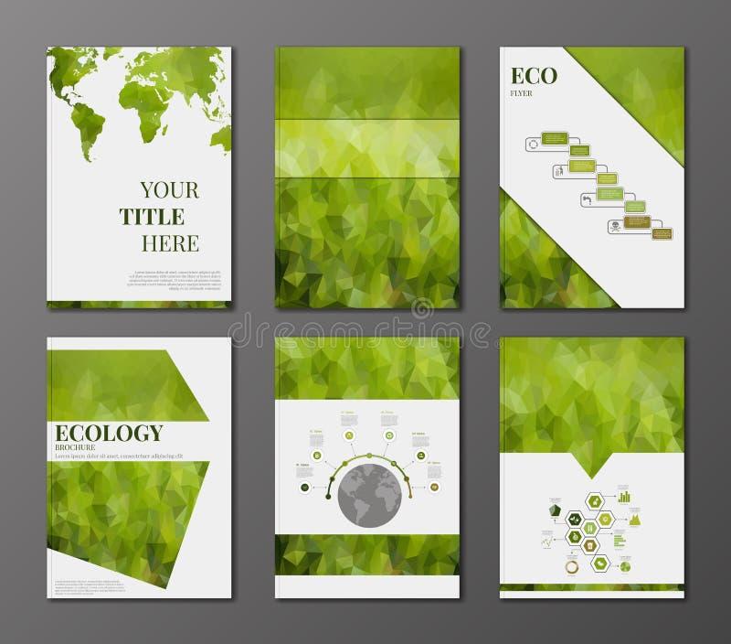Eco broschyruppsättning stock illustrationer