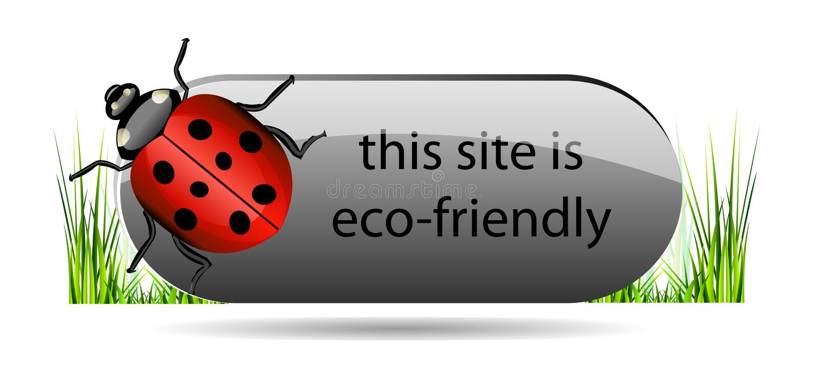 Download Eco Button With Ladybug And Green Grass. Royalty Free Stock Image - Image: 31052856