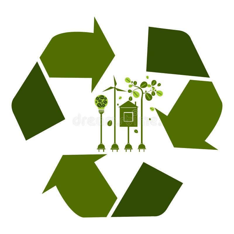 Eco cómodo El concepto verde de la energía de la ecología con recicla el símbolo a ilustración del vector