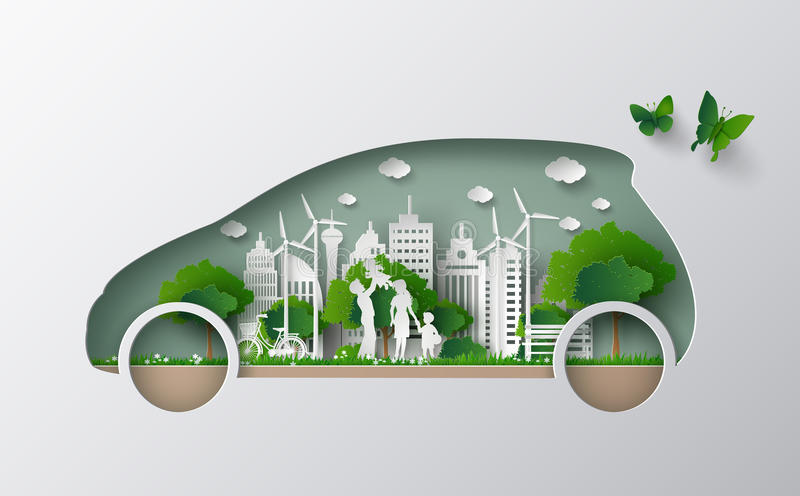 Eco car concept. Concept of eco car with family and nature in the city.paper art and craft style stock illustration