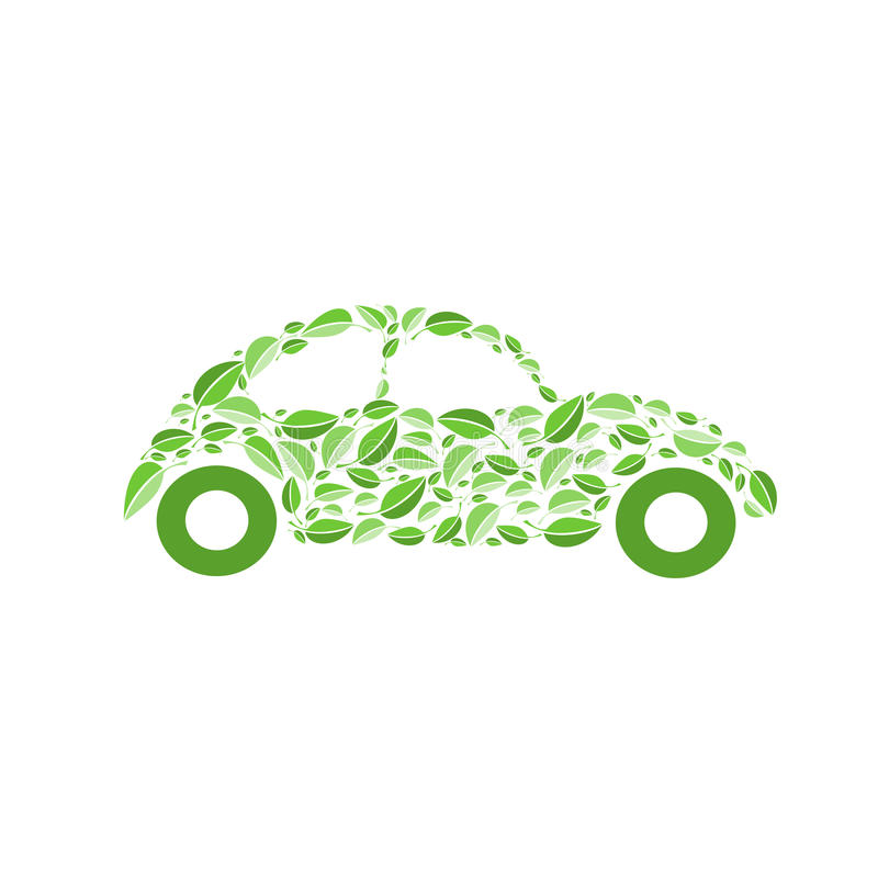 Eco car. Illustration of car with green leaves vector illustration