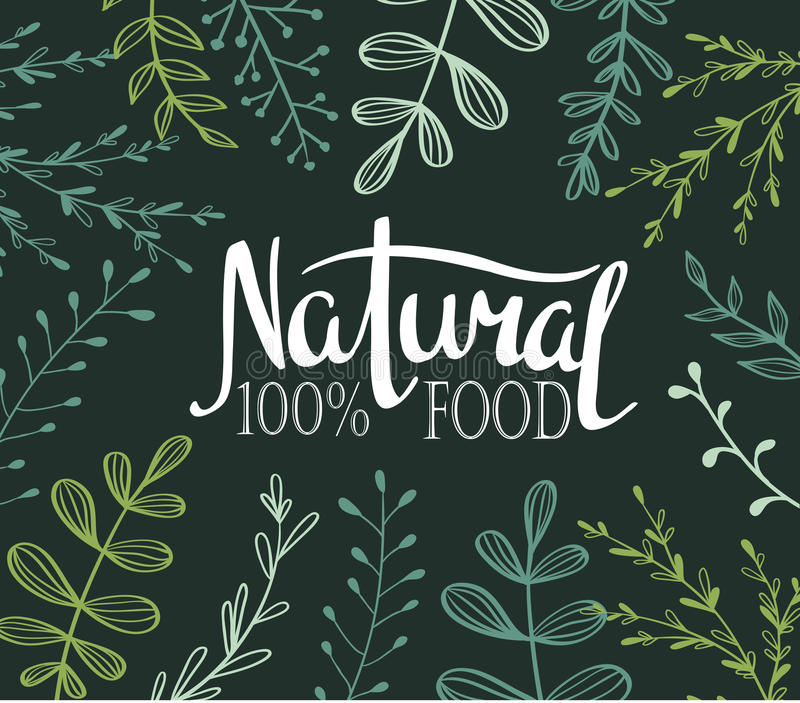 Eco Card with plants and lettering Natural food 100%. All objects . Vector royalty free illustration