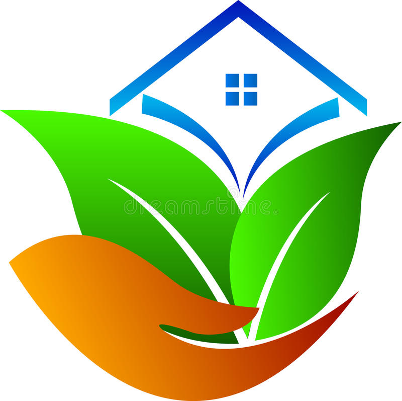 Eco care home. A vector drawing represents eco care home design stock illustration
