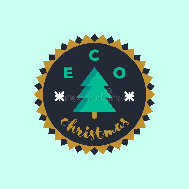 Eco Christmas badge sticker. Environmental conservation concept. royalty free stock image