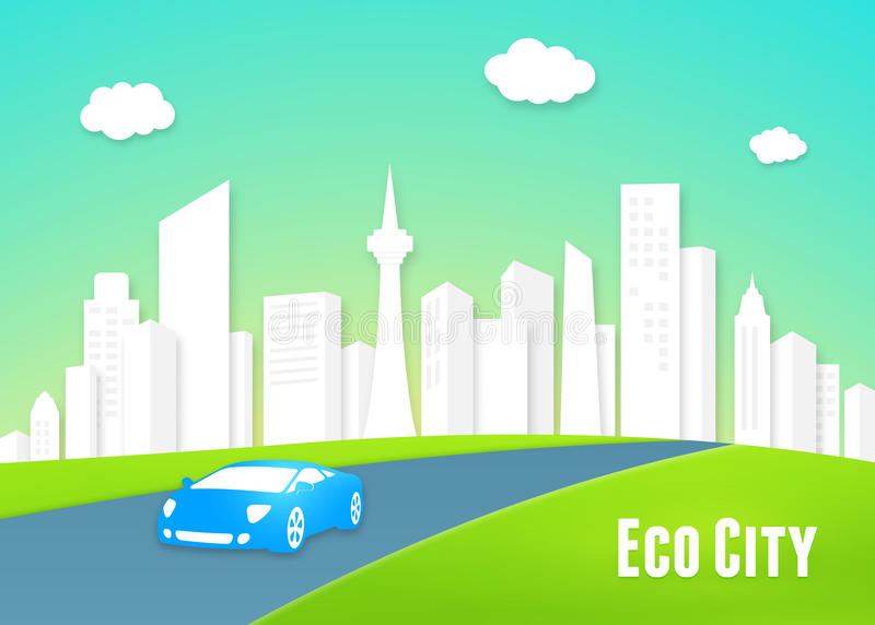 Eco city concept. With a clean white urban cityscape of modern high-rise buildings and an eco-friendly efficient electric car driving into the lush green vector illustration