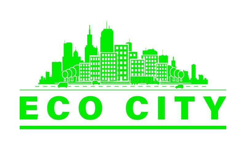 Eco city skyline. stock illustration