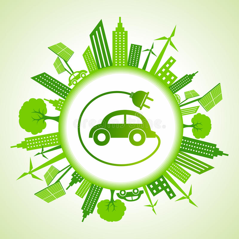 Eco cityscape with electric car stock illustration
