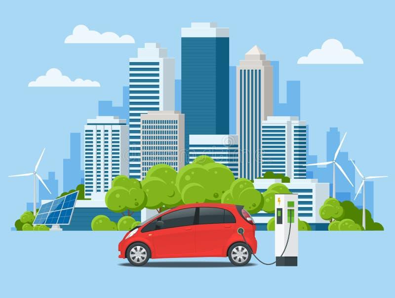 Eco-ciudad del concepto del vector y vida suburbana Coche eléctrico que carga en la estación del cargador Emoción de Electromobil stock de ilustración