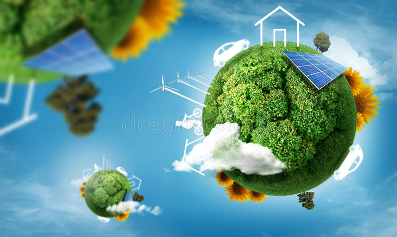 Eco concept. Eco living house and car and bicycle in the grass, recycle concept vector illustration
