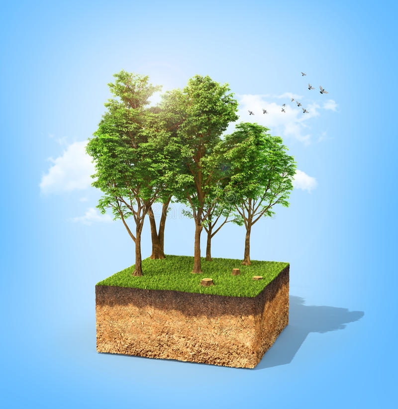 Eco concept. Cross section of ground with tall trees on a blue. 3d illustration vector illustration