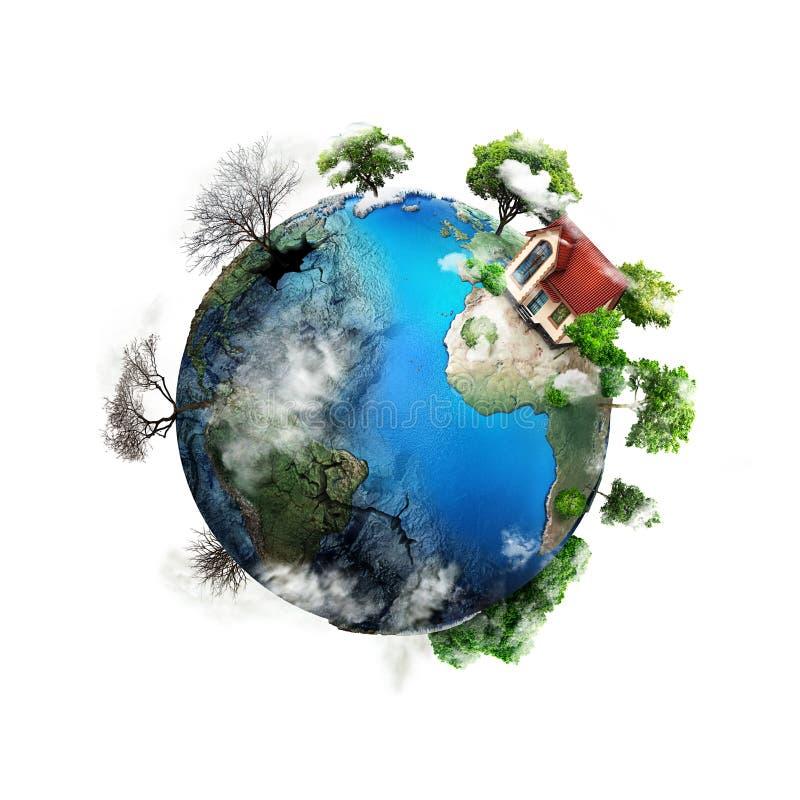 Eco-concept Het gebied van de aarde met een heldere kant en een donkerdere kant Één kant is groen met het huis, is de overkant em vector illustratie
