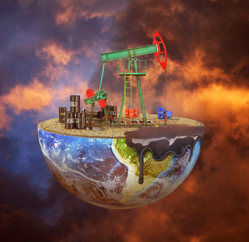 Eco-concept. Oil pump on a cut planet on moody background. The c. Oncept of natural resource extraction. Save the planet stock photography