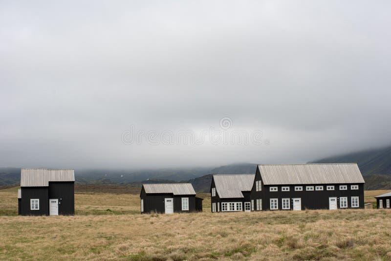 Eco countryside farmhouses in Iceland stock photos