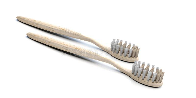 Eco, cuidado alternativo dos dentes Duas escovas de dentes saudáveis ecológicas isoladas em branco, ilustração 3d ilustração do vetor