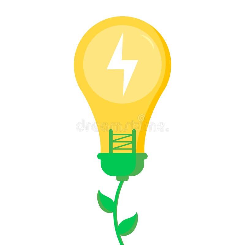 Eco, das freundlich ist, speichern das Planeten- und Energiekonzept, flach-?hnlich Energie und ?kologie lizenzfreie abbildung