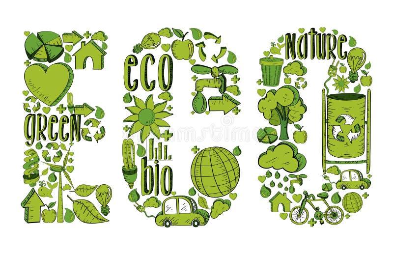 Eco de la palabra con los iconos ambientales stock de ilustración