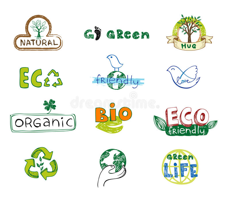 Eco Icons. Ecology Signs Set. Stock Vector