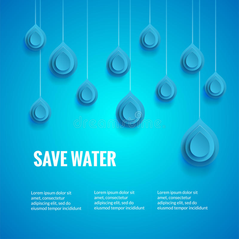 Eco design template. Save the water poster. Blue background with drop shape. Wor. Ld Water Day concept royalty free illustration