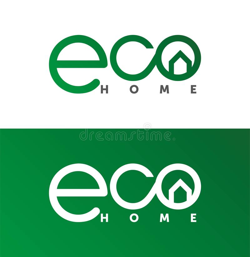 Eco dom, domowy logo, domowy logotyp, eco, zieleń, wektorowy szablon ilustracja wektor