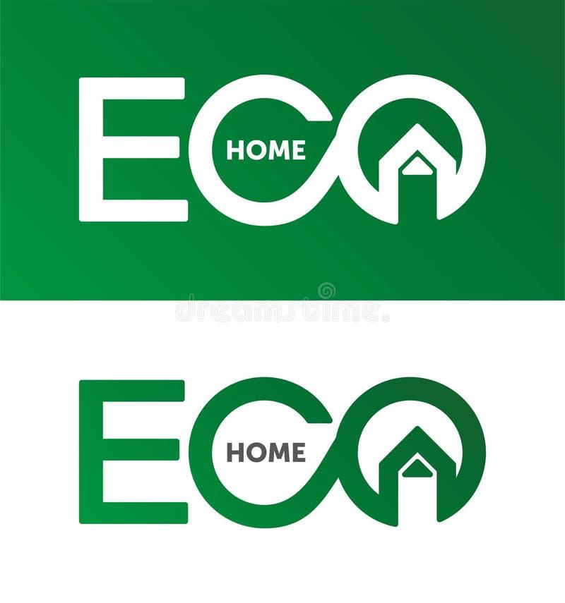Eco dom, domowy logo, domowy logotyp, eco, zieleń, wektorowy szablon royalty ilustracja