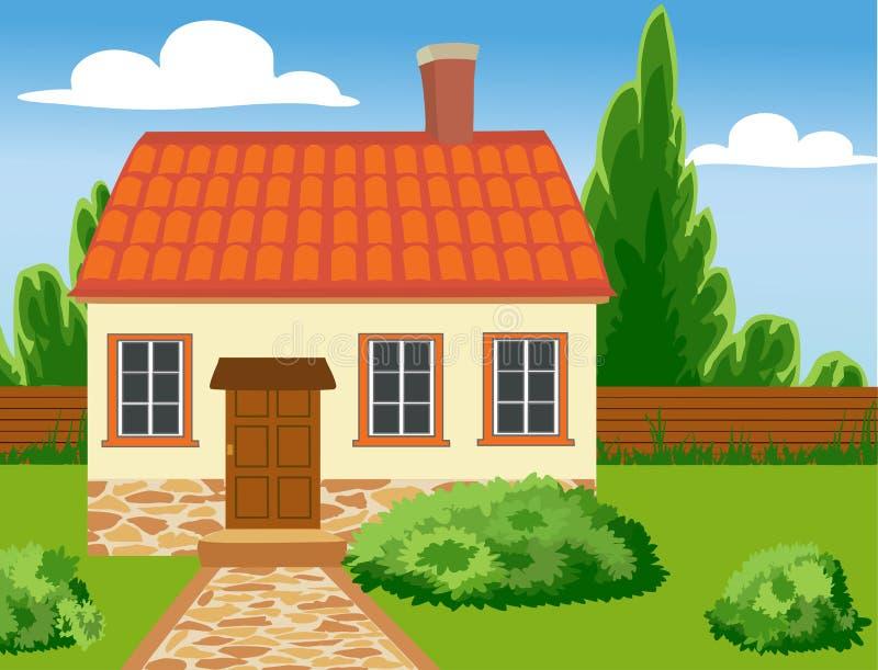 Eco dom w naturalnym położeniu ilustracja wektor