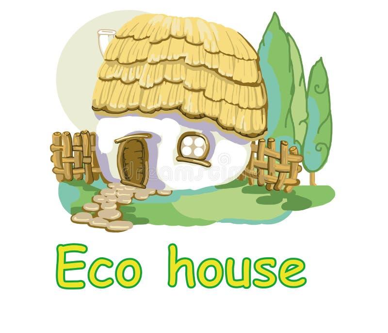 Eco dom z pokrywającym strzechą dachem royalty ilustracja