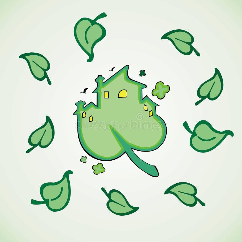 Eco dom, zielony drzewny liść ilustracja wektor