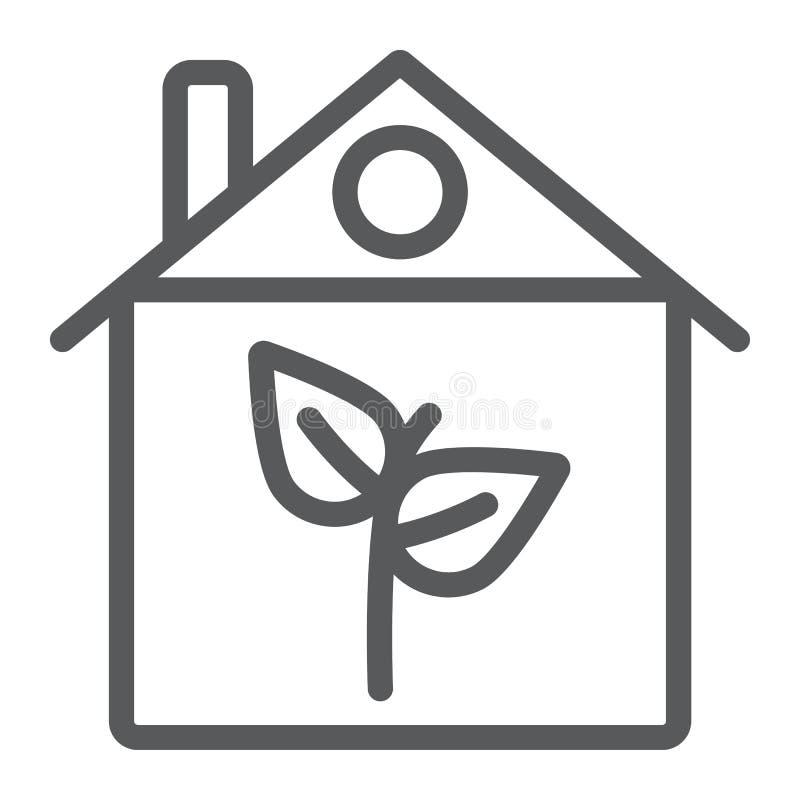 Eco domu linii ikona, architektura i budynek, ekologia domu znak, wektorowe grafika, liniowy wzór na bielu ilustracji