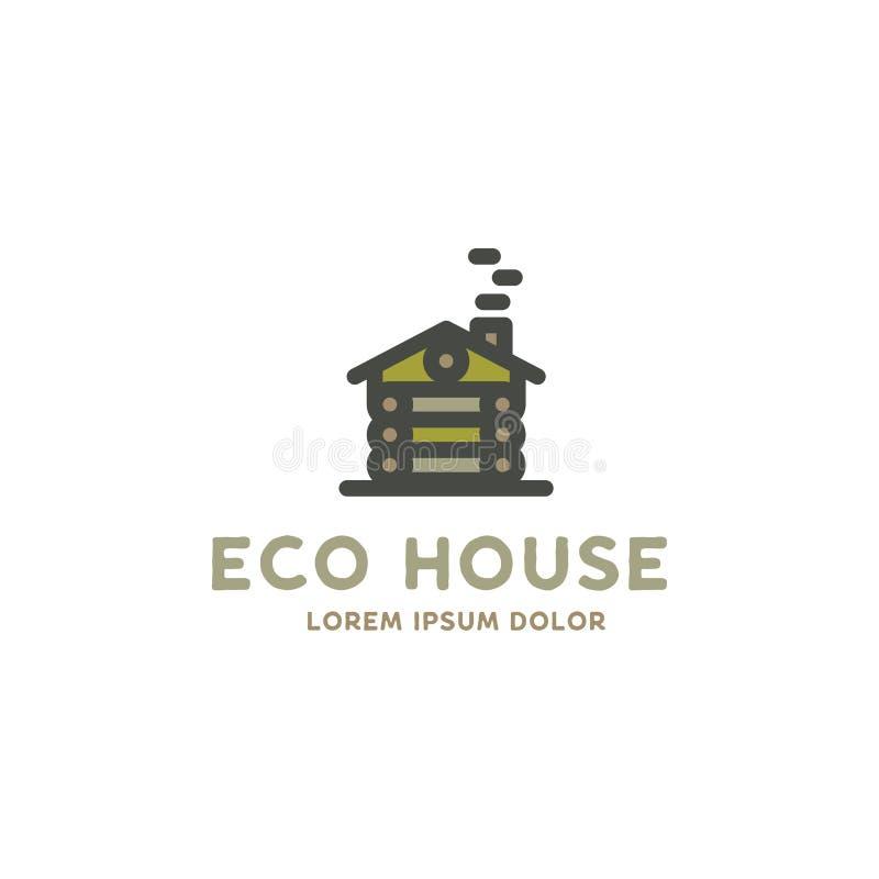 Eco domu loga szablon Płaski projekta pojęcie eco dom, drewniany dom Akcyjny wektorowy logotyp odizolowywający na bielu royalty ilustracja