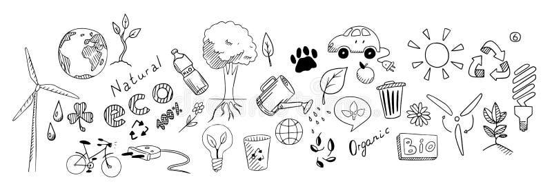 Eco drawing vector set stock illustration