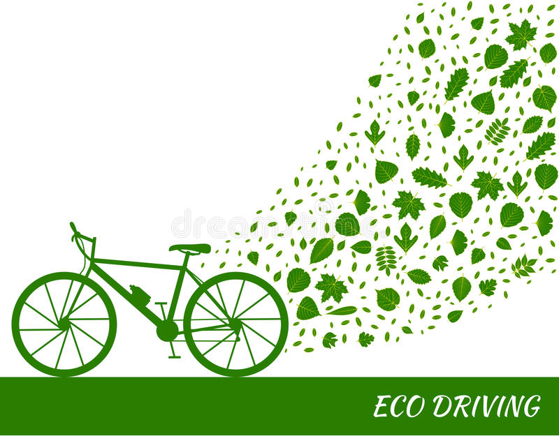 Eco driving concept in green colors. Bike and trail of tree leaves. stock illustration