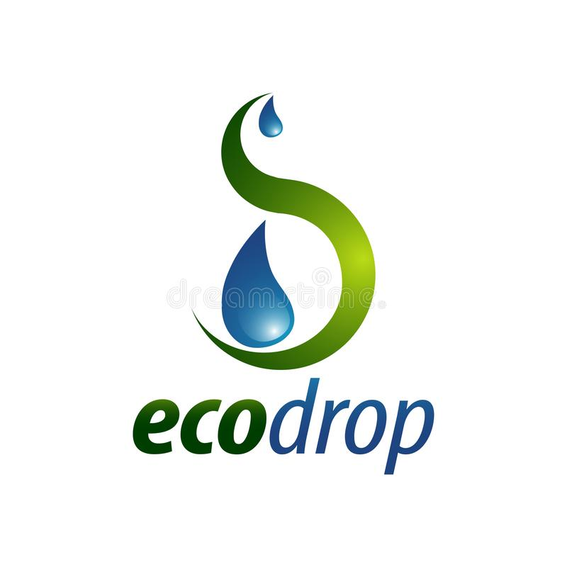 Eco Drop. Abstract illustration water drop logo concept design template. Idea vector illustration