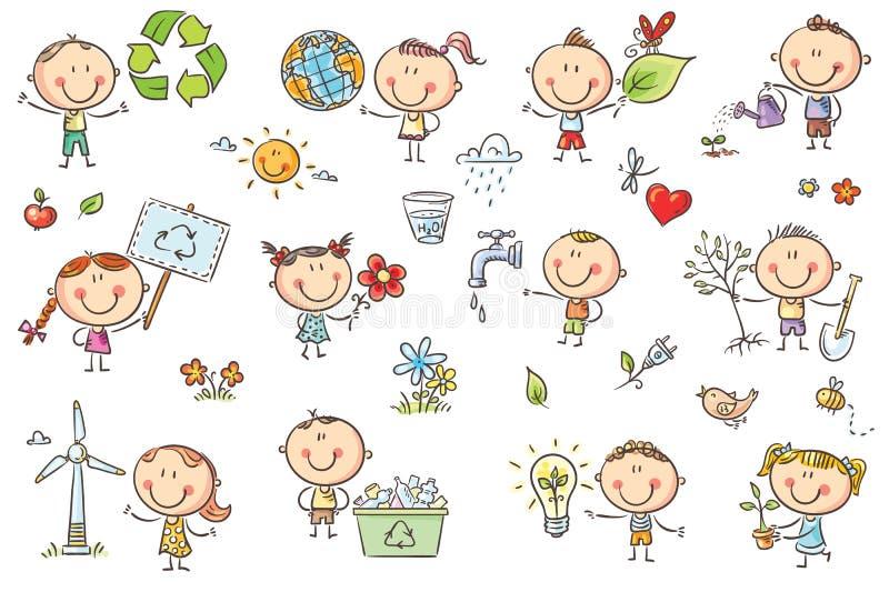 Eco dzieciaki ustawiający royalty ilustracja