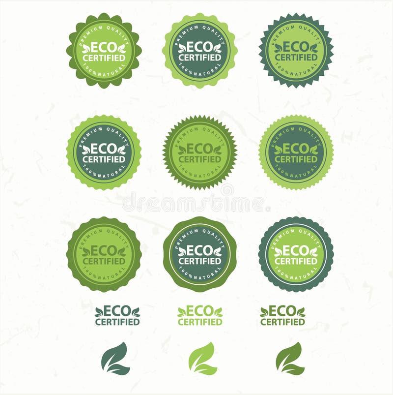 Eco e bio coleção das etiquetas ilustração royalty free