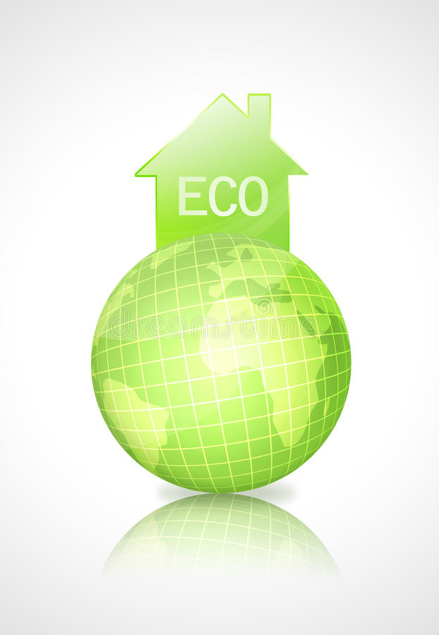Download Eco Earth Globe With Green House Stock Illustration - Illustration of planet, background: 10982243